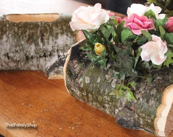 Log Flower Vase Rustic Wedding Table Centerpiece Decoration