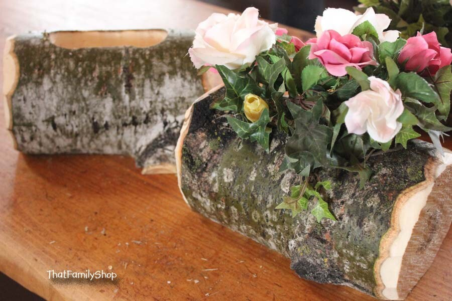 Log flower vase rustic wedding table centerpiece decoration for Artificial logs for decoration