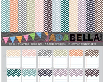 Instant Download Set of 12 Chevron Papers and Journal Cards download/printable Personal and Small commercial use