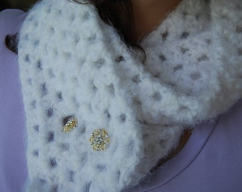 Crochet White Elegant Scarf-White Scarf With Buttons-White Cowl-Womens Crochet Scarf