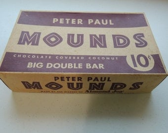 vintage 50s, early 60s, mounds candy bar, store display box complete, advertising,