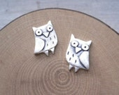 Owl Stud Earrings - Silver Bird Jewelry - Birthday valentine gift for her