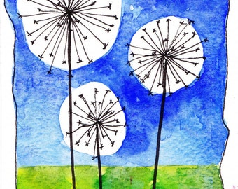 "Dandelions - an original watercolor 4"" x 6"""