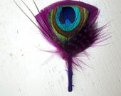 Wedding Corsage, Groom, Groomsmen Boutonniere, Peacock Boutonniere, Usher, Father, Grandfather, Plum, Blue, Green, Feather Pin, Hat stick