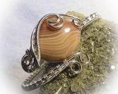 1 Lake Superior Agate Wire Wrapped Stone Bracelet Cuff  Bangle