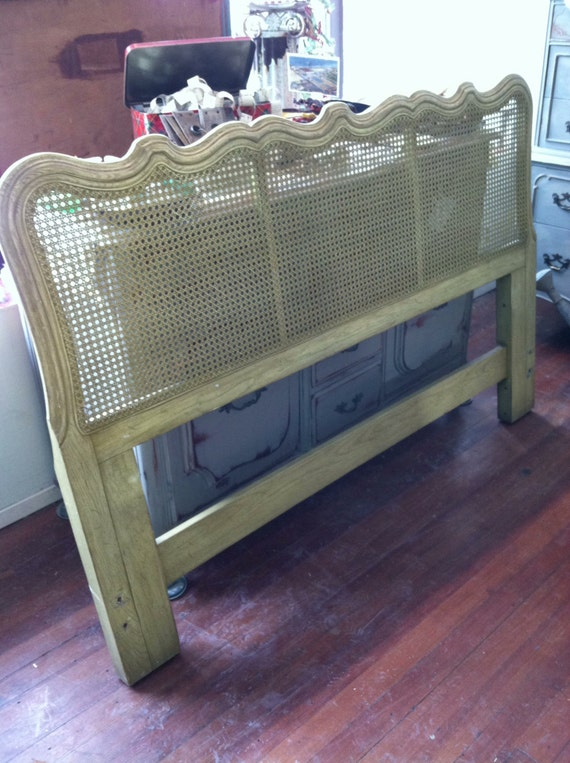 Vintage French Provincial Cane Queen Headboard Hold Nikki