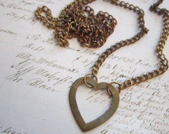 vintage HEART pendant on 36 inch chain