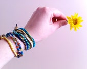 RESERVED FOR NYDIA - 4 bohemian spring bracelets - gold, navy blue and mint green - handmade with love