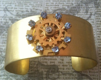 Steampunk Brass Cuff with Blue Crystals and Gears