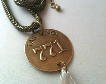 Steampunk Antiqued Brass Tag with Swarovski Crystal Necklace