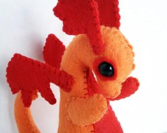 Baby Dragon felt plush stuffed animal- orange with red