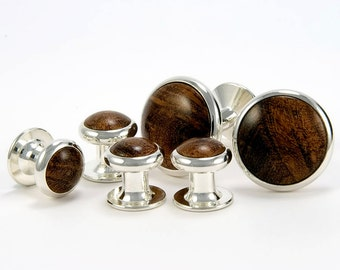 Silver Cufflink Tuxedo Stud Set - Mesquite Burl - Unigue Gift for Father Of The Bride, Groomsmen, Best Man, Fathers Day, Graduation