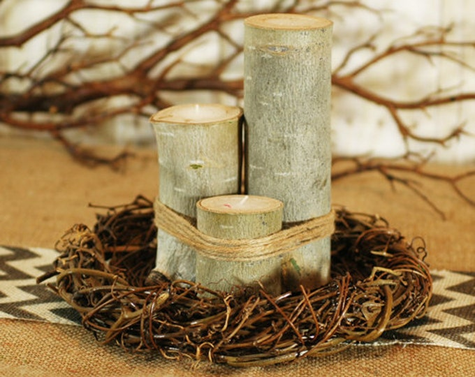 Rustic Birch Log Votive Tea Light Candles SET OF 3 Natural, Woodland Centerpeice decorations