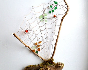 Unique Custom Driftwood and Wire Spider Web Desktop Structure Home Decor Natures Gift for Bug Lovers Colorful Fall Web Free Standing
