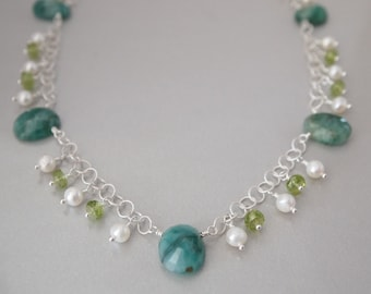 Genuine Emerald Freshwater Pearl Peridot Sterling Silver Necklace