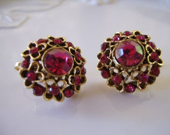Vintage Brushed Antique Gold Deep Raspberry Rhinestone Clip Earrings