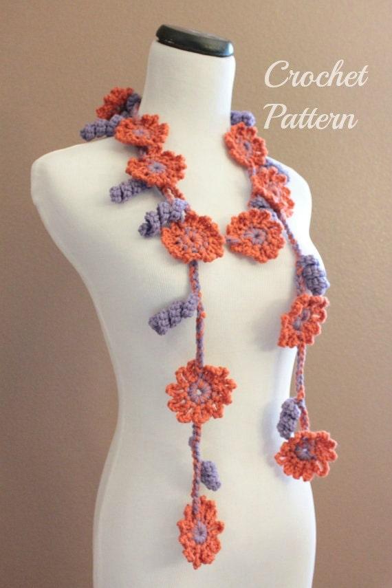 Crochet Pattern Crochet Flower Scarf Pattern Crochet