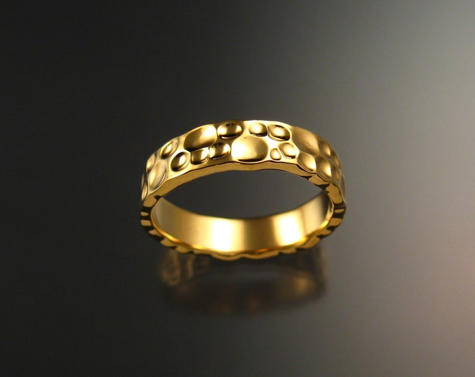 14k Yellow Gold Moonscape Wedding band Unique Handmade ring for men made to order in your size