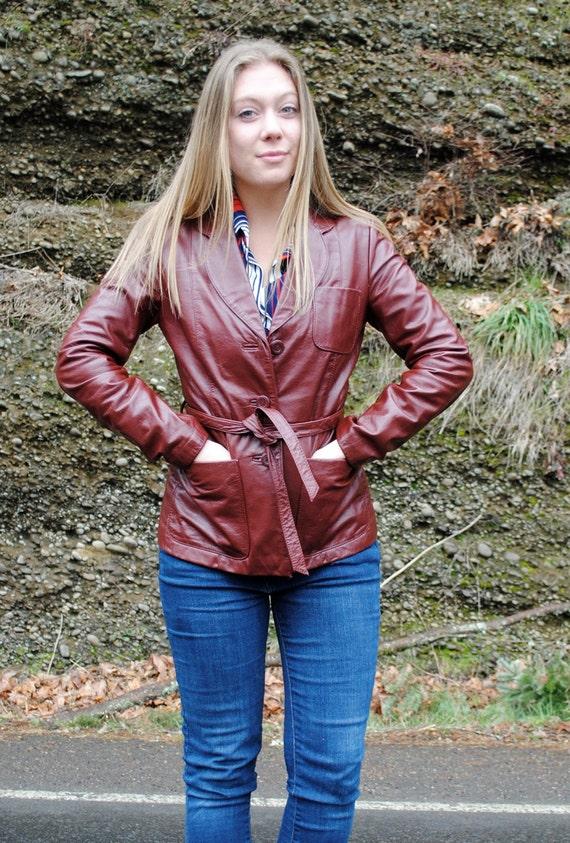 VIntage 70's Brown Leather Jacket-SALE