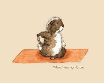 Pigeon Pose - Yoguineas Collection -  Cute Guinea Pig Yoga Art Print