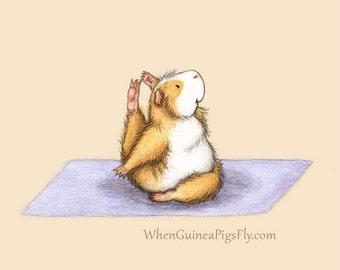Guinea Pig Yoga Compass Pose - the Yoguineas Collection Cute Guinea Pig Yoga Art Print