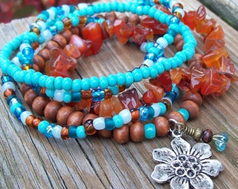 Carnelian and Turquoise Beaded Stretch Bracelet Set - Action, Love and Joy