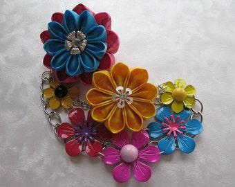Flower Child Kanzashi Flower Hair Clip Bun Cage