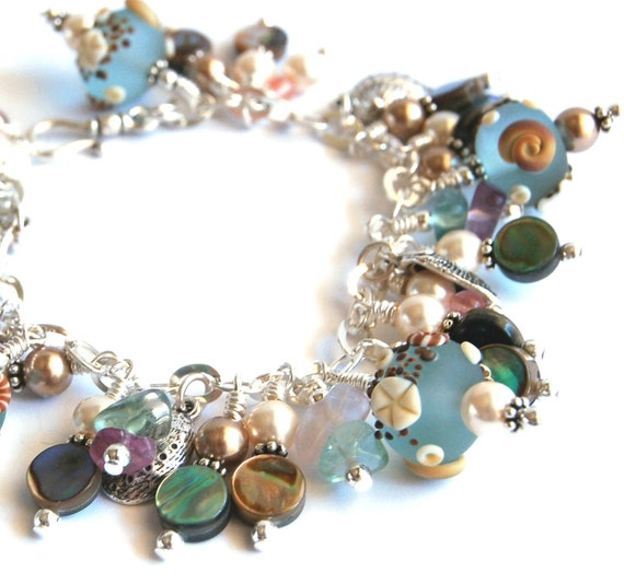 Ocean inspired Art Glass Bracelet and Earrings set, lampwork glass, charms, shell, pearls, gemstone and glass beads Sea greens & sand colors