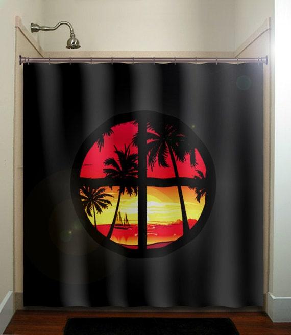 Tropical paradise window sunset palm trees shower curtain for Palm tree bathroom ideas