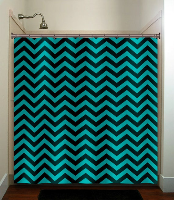 Turquoise Aqua Chevron Shower Curtain Bathroom By