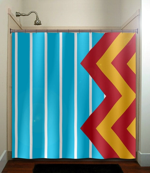 Large Blue Stripe Yellow Red Giant Chevron Shower Curtain