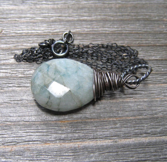 Oregon Opal Necklace Faceted Pear Briolette Aqua Opal Sterling Silver Hand Wire Wrapped