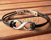 unisex mens womens black leather bracelet with sterling silver plated infinity link