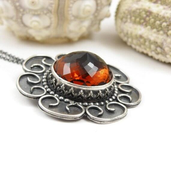 SALE 35% off - Retro metalwork pendant, sterling silver jewelry, gemstone fine jewelry, flower pendant