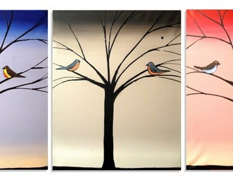 Original Art by UK  3 panel abstract branches painting triptych large contemporary canvas office love birds paintings on hanging kunst