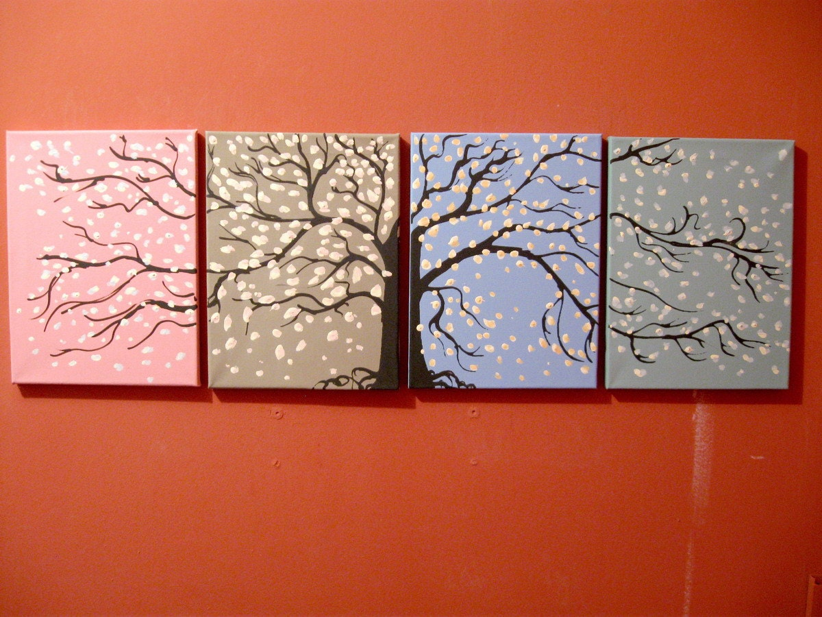 landscape tree painting canvas triptych wall art. Black Bedroom Furniture Sets. Home Design Ideas
