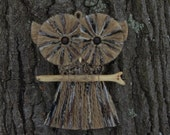 Macrame Owl Wall Hanging with Ebony wood beads, Perched on Pine Driftwood. Vintage style.