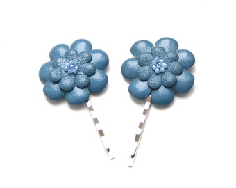 ALL funds are going to cat shelter - Blue leather flowers bobby pins - set of 2