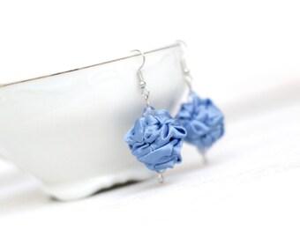 Serenity blue  fabric bead Earrings, ruffled textile earrings, fabric jewelry, textile jewelry, dangle earrings, Gift for Her, light blue