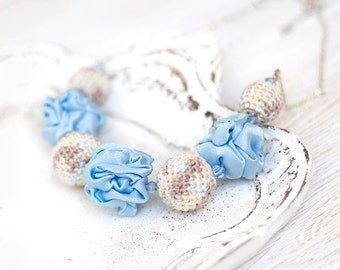 Pastel Light blue fabric and crochet beads necklace, textile necklace, textile jewelry, Statement Necklace, Unique Gift for Her