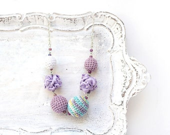 Pastel Statement Necklace with crocheted and fabric beads in lavender and white