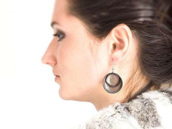 Brown metallic leather circle Earrings SALE