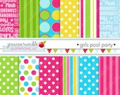 Girls Pool Party Cute Digital Paper Backgrounds for Commercial or Personal Use, Girls Summer Papers, Patterns