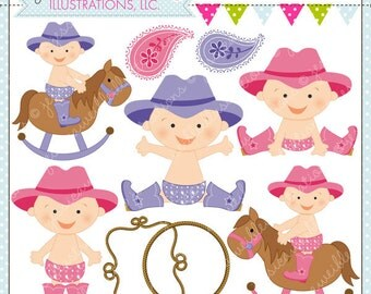 Cowgirl Baby Cute Digital Clipart for Commercial and Personal Use, Cowgirl Clipart, Western Baby