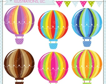 Hot Air Balloons Cute Digital Clipart for Card Design, Scrapbooking, and Web Design, Hot Air Balloons Clipart