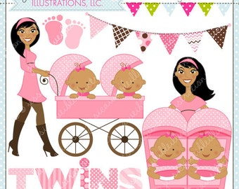 Strollin Double Girls V2 Cute Digital Clipart for Commercial or Personal Use, TWIN GIRLS Clipart, Twins Stroller