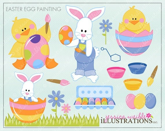 Easter Egg Painting Cute Digital Clipart For Invitations Card