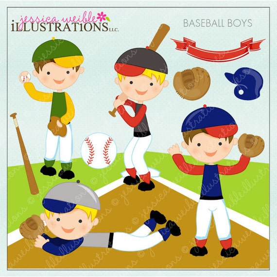 Baseball Boys Cute Digital Clipart for Card Design, Scrapbooking, and Web Design