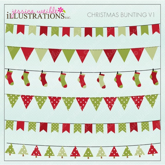 Christmas Bunting Cute Digital Clipart for Card Design, Scrapbooking, and Web Design