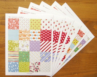 My Memory Fabric Style Pattern Stickers - 6 sheets (4.5 x 6in)